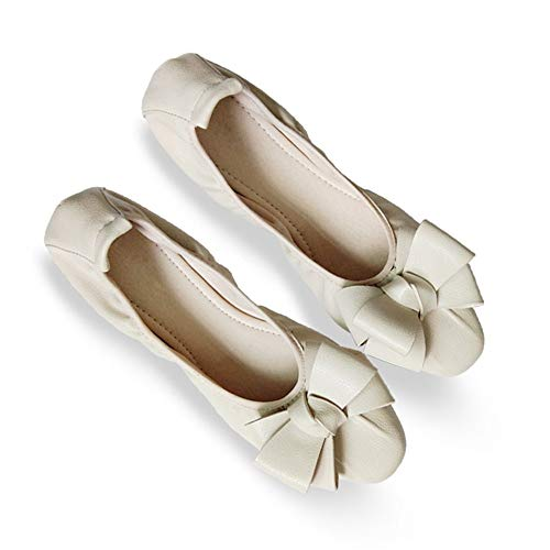 E flat shoes Fashion pregnant shoes foldable bow bottom mouth ladies women soft shoes work shallow shoes FLYRCX ballet ngqwCATC