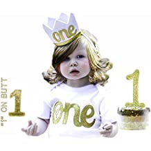 1st Birthday Baby Girls Outfit First Sparkly Gold One Year Old Onesie Crown Cake Smash Topper 1 B-Day Full Set