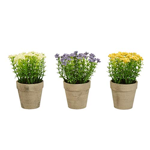 Home Pure Garden Faux Flowers-3-Piece Assorted 6.25
