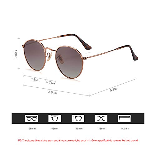 2020Ventiventi AK17018 John Lennon Style Rose Gold Frame/Gradient Brown Lens Round 48mm Polarized Stainless Steel Sunglasses