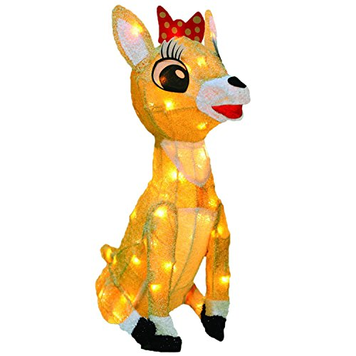 ProductWorks 26-Inch Rudolph 3D LED Pre-Lit Clarice The Reindeer Christmas Yard Art, 70 ()