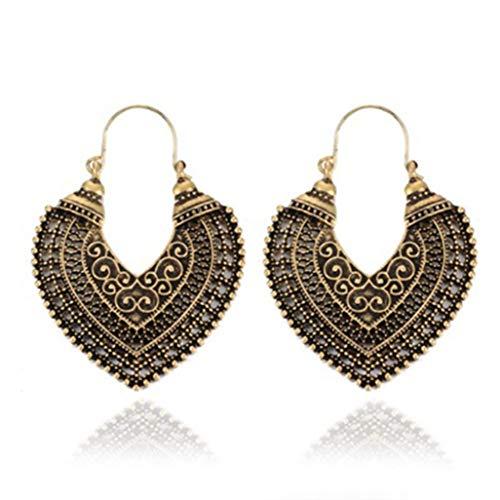 Vintage Antique Earring Geometric Ethnic Style Stud Earrings Flower Carving Drop Earring for Women Girl Dangle Earring