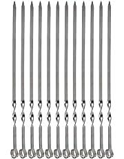 Grill Kabob Skewers, EXTSUD 15 inch / 38cm Flat Stainless Steel Skewers Grilling BBQ Stick Skewers (Set of 12)