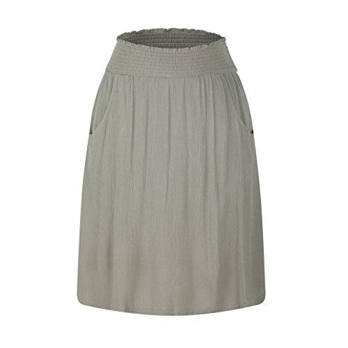 zhAjh Women's Rayon Crinckle Crepe Smoke Waistband Knee Length A Line Skirt with Pockets (Paloma Gray,Medium)