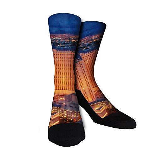 Las Vegas Nevada Night Unisex Novelty Funny Dress Socks Crew Socks - For Men'S And Women'S Gift