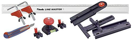 kwb Präzisionslineal Line Master Set 783408 (Lineal mit Messerführung, Sägeführung, Winkelanschlag, Wasserwaage und Bohrpunktmarkierer)