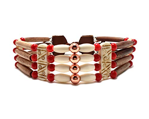 Traditional 4 Row Antiqued Buffalo Bone Hairpipe Beads Tribal Choker Necklace