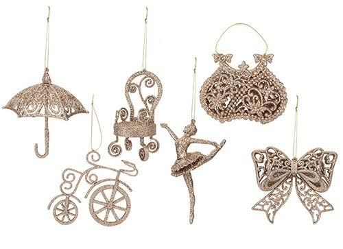 Toyland/® Pack Of 6-10cm Rose Gold Glittery Decorative Tree Trims 6 Assorted Designs One Of Each Supplied