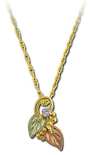 - Landstroms 10k Black Hills Gold Pendant Necklace and Leaves with Diamond, 18