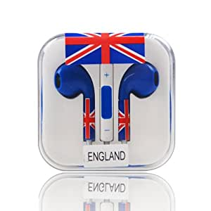 Wowwow 2014 World Cup ENGLAND Flag Sport Earphone Headset Headphone Earbuds With Microphone For iPod iPad iPhone 5 5S 4 4S 3GS,Samsung Galaxy Note3 Note2 S5 S4