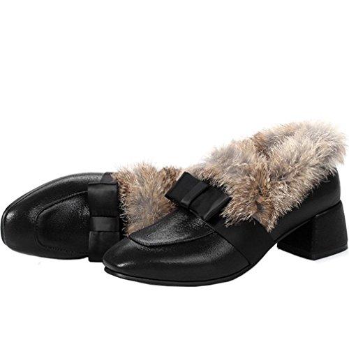 ENMAYER Damen Winter Pumps Schuh Keilabsatz Mandelförmige Zehen mit Pelz Schwarz