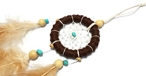 "APECTO Handmade Traditional Dream Catcher Circular Net With Feathers Wall Hanging Decor Ornament Craft 5"" Diameter 16.5"" Long Approx, Brown (DMY1)"