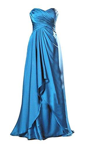 raso sera Blue in pieghe lungo da classico Angeldragon formale senza abito spalline qPtvHIw