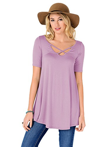 Lavender Cross - FACA Womens Criss Cross Elbow Sleeve Tunic Top (Large, Lavender)