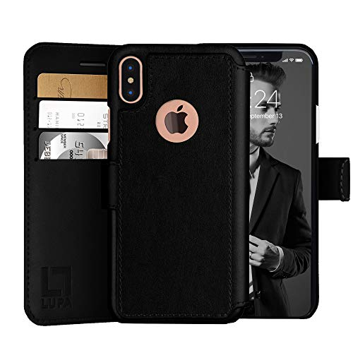 LUPA iPhone Xs Max Wallet case, Durable and Slim, Lightweight with Classic Design & Ultra-Strong Magnetic Closure, Faux Leather, Black, for Apple iPhone Xs Max