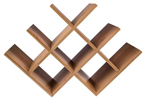 Premium W Shaped Free Standing Butterfly Bamboo Wine Rack - Holds 8 Bottles.
