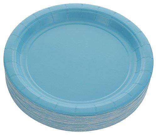 (Amcrate Light Blue Disposable Party Paper Dessert Plates 7
