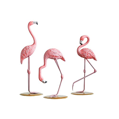 DDMARK 3Pcs Resin Pink Flamingoes Statue Figurine Collectible Decoration Gift Set