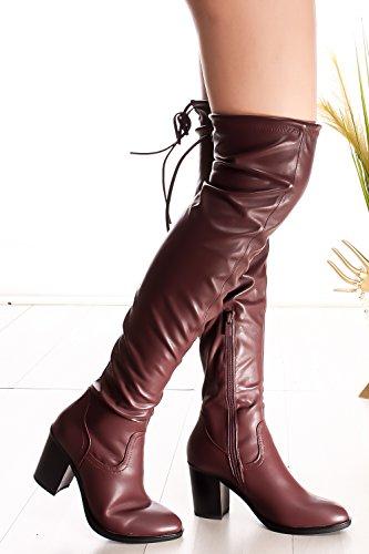 Sempre In Tinta Con Lycra In Ecopelle Sopra Il Ginocchio Con Tacco Grosso Boots Burgundy-hugo-49