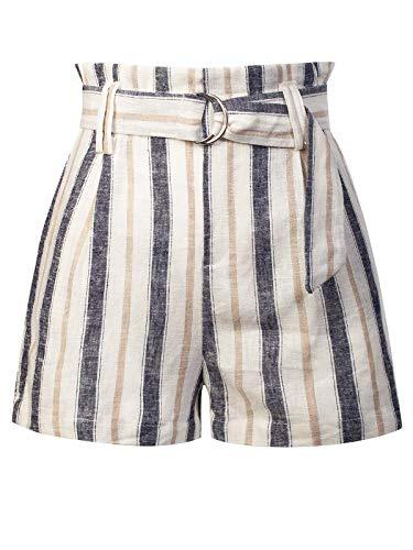 Pants Stripe Blue - Design by Olivia Women's Casual Stripe Belted Linen Beach Shorts Blue S