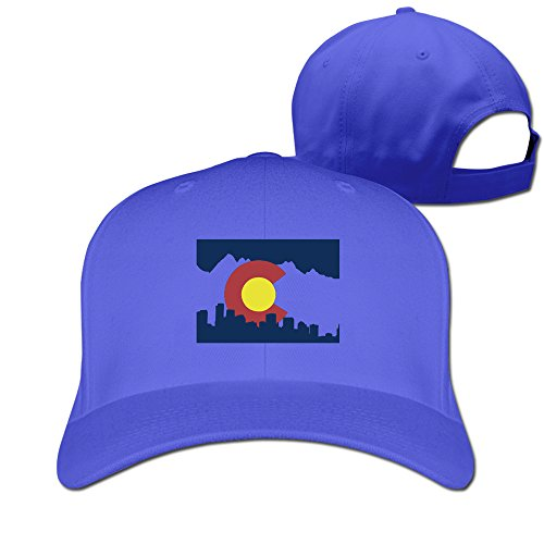 Colorado State Flag With Skyline Solid Color Unisex RoyalBlue Cap