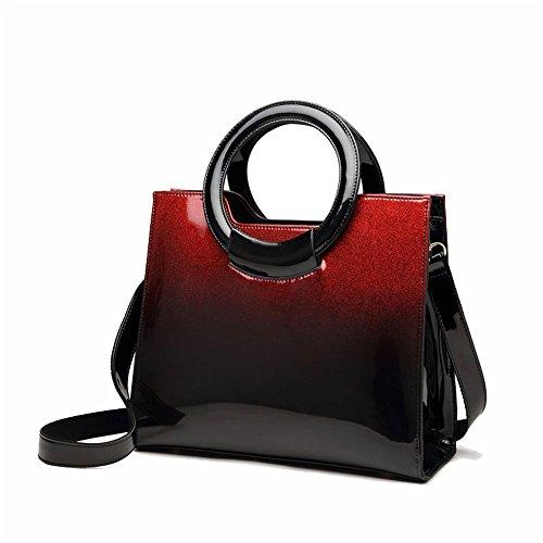Xuanbao Bolso de Mano gradiente Rojo Mujer Bolso de Mano Joker Cuero Crossbody Bolso de Mano (Color : Negro) Rojo