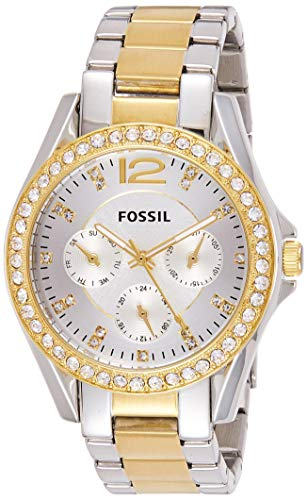 Fossil Women's Riley Quartz Two-Tone Stainless Steel Chronograph Watch, Color: Silver, Gold (Model: ES3204) from Fossil