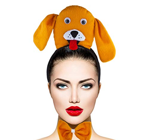 Lux Accessories Orange Cute Dog Head Ears Bowtie Tail Costume Party Dressup ()