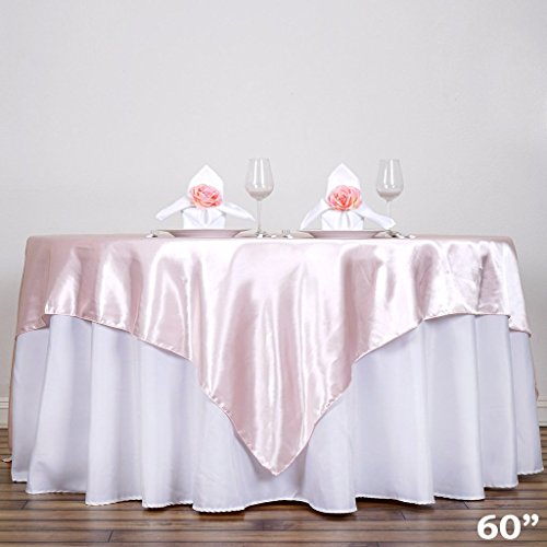 BalsaCircle 5 pcs 60x60-Inch Blush Satin Table Overlays - Wedding Reception Party Catering Table Linens Decorations
