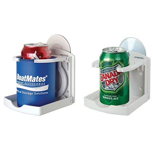 BoatMates Folding Drink Holder Twin Pack, White
