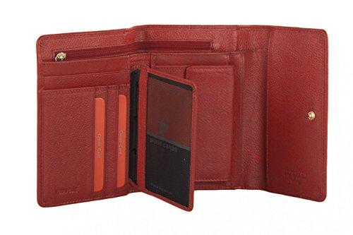 cartera mujer PIERRE CARDIN rojo en cuero con abertura a boton