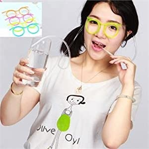 Ayutthaya shop Lovely Unique Flexible Glasses Drinking Tube Novelty Soft Glasses Drinking Straw : Random Color