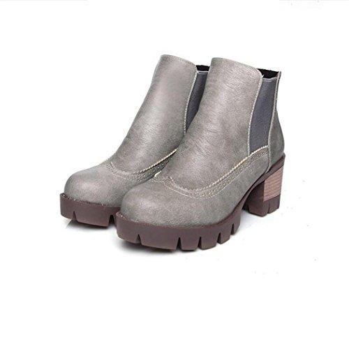 ZQ@QX El otoño y el invierno de cabeza redonda Taiwán impermeable grueso con wild west botas botas cortas de estudiante, un gran número de mujeres botas gray