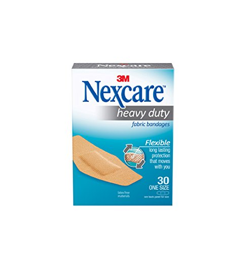 Nexcare Heavy Duty Flexible Fabric Bandages, Durable Fabric, For Sports, One Size, 30 Count Packages (Pack of 4)