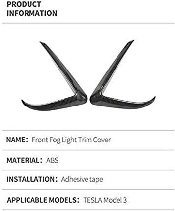 Abs Carbon Fiber PQZATX Model 3 Carbon Fiber Front Fog Light Trim Cover 2Pcs for Tesla Model 3 2017 2018 2019