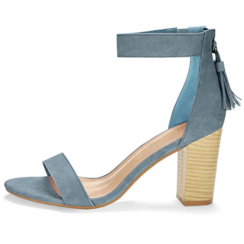 Open Femmes K Sandales Gland Bride Talon Toe Blue Allegra empilé Denim F5Ex5