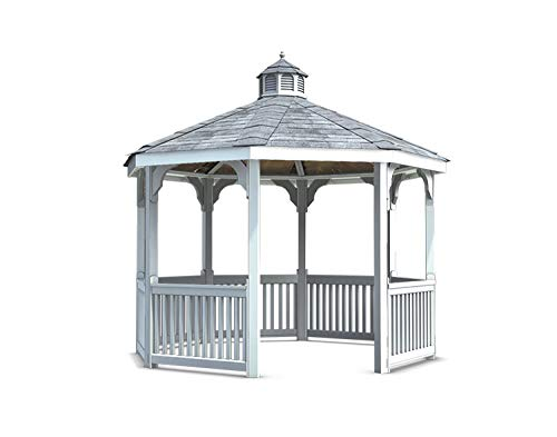 Fifthroom 12' Octagon Vinyl Gazebo - Durable Outdoor Furniture Backyard Seating, Exterior Structures, Home and Garden ()
