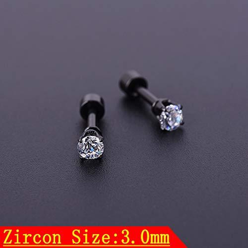 5pcs 3-7mm Zircon Crystal Ear Piercing Gold Silver Black Stainless Steel Ear Stud Fashion Earring Body Piercing Jewelry
