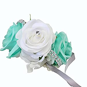 Angel Isabella Wrist Corsage-3 Rose Arrangement with Hydrangea Keepsake Artificial Flower Prom Dance Graduation Events (Mint Green White)