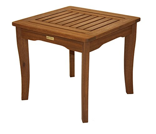 Outdoor Interiors 19470 Eucalyptus End Table - Quick and easy assembly Made from sustainable plantation grown Brazilian eucalyptus Beautiful curved leg design - patio-tables, patio-furniture, patio - 416hR71BaVL -