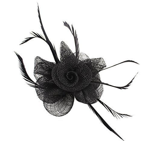 La Vogue Lady Fascinator Flower Feather Brooch Hair Pin Cocktail Wedding Church Black