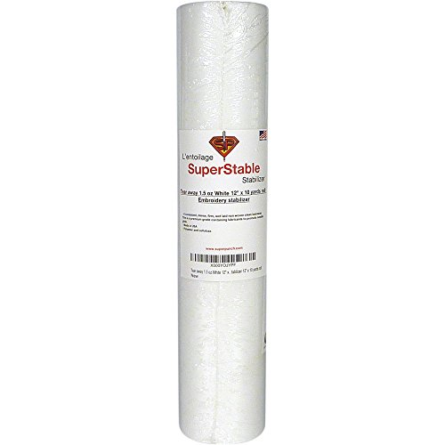 Tear Away Stabilizer White 1.5 oz 12 inch x 10 Yard Roll. SuperStable Embroidery Stabilizer Backing