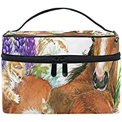 Makeup Cosmetic Bag Horse And Kitten On Flower Meadow Foal Portable Storage with Zipper
