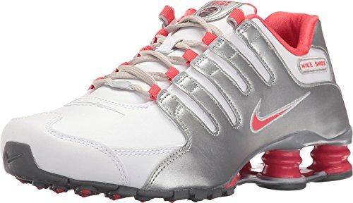 Nike Womens Shox NZ White/Ember Glow/Silver Running Shoe 5.5 Women US