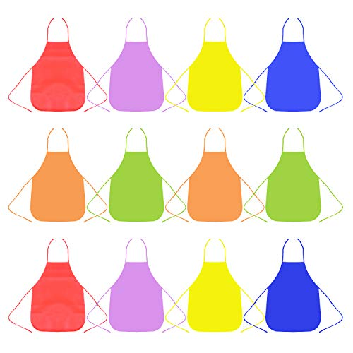Ancefine Non-Woven Fabric Children's Smock Artist Panting Aprons ,6 Color,12-Pack