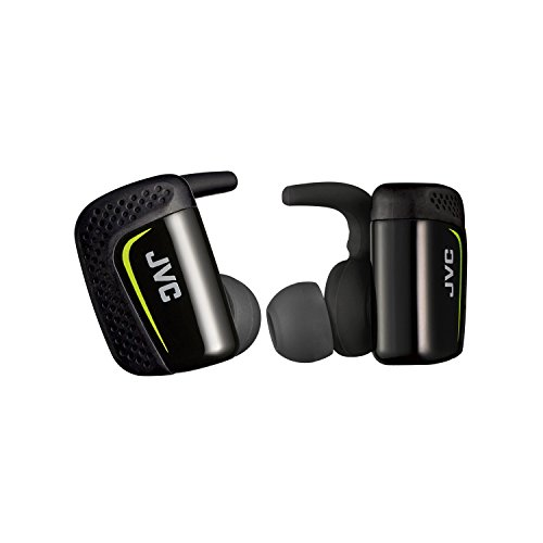 JVC True Wireless Earbuds for Sports & Fitness, Sweat/Water Proof IPX5, Bluetooth Connectivity, Pivot Motion Fit, 3 Point Support Structure, 3+6 Hours Battery Life - HAET90BTB (Black)