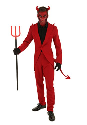 Devil Halloween Costumes Male (Adult Red Suit Devil Costume Small)