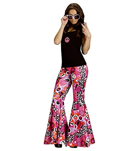 70s Outfits Women (Flower Child Bell Bottoms Adult Costume Groovy Pink - Medium/Large)