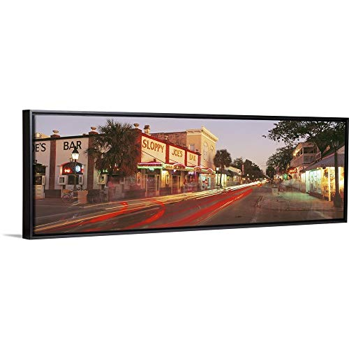 (Floating Frame Premium Canvas with Black Frame Wall Art Print Entitled Florida, Key West, Duval Street, Sloppy Joe's Bar Illuminated at Night 60