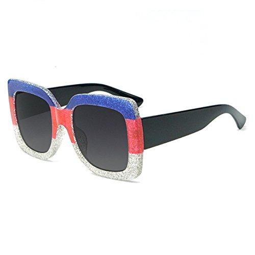 de soleil soleil Deux lunettes couleur luxe 2018 tricolore de cristal de couleur cadre contrastée mode de cool Nouveau de carré LUXIAO lunettes marée UqxzZA